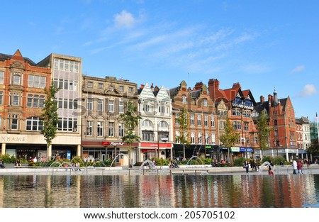 Nottingham, UK - 14 October, 2012: View of the Old Market Square, major cultural and touristic landmark in Nottingham - stock photo