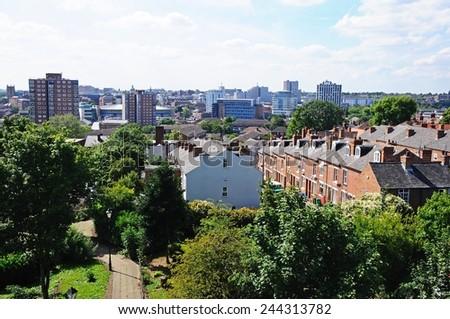 NOTTINGHAM, UNITED KINGDOM - JULY 17, 2014 - Elevated view across the city rooftops, Nottingham, Nottinghamshire, England, UK, Western Europe, July 17, 2014. - stock photo