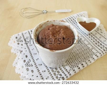 Nougat mug cake - stock photo