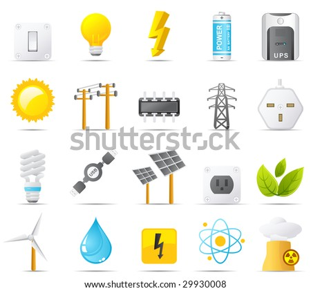 Nouve vector icons. Power, Energy and Electricity icon graphics - stock photo