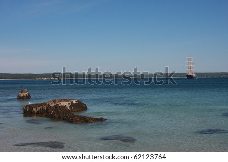 Nova Scotia Tidepool with Tall Ship in Background