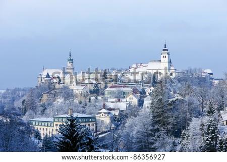 Nove Mesto nad Metuji in winter, Czech Republic - stock photo