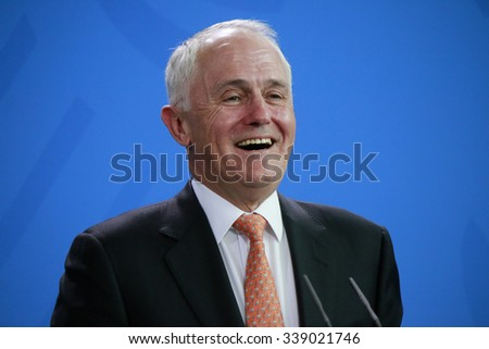 NOVEMBER 13, 2015 - BERLIN: Australian Prime Minister Malcolm Turnbull at a press conference after a meeting with the German Chancellor in the Federal Chanclery. - stock photo