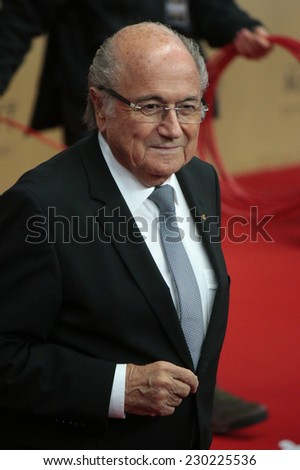 "NOVEMBER 10, 2014 - BERLIN: FIFA boss Sepp Blatter - premiere of the documentary film ""Die Mannschaft"" (the team) about the win of the football world cup 2014, Sony Center, Berlin."