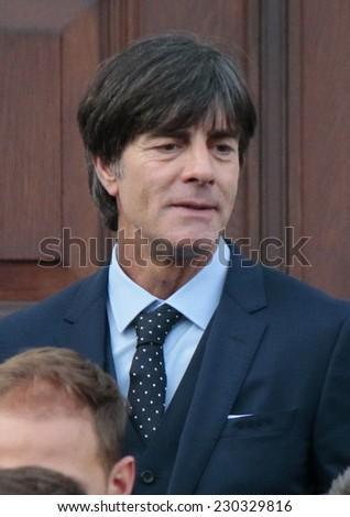 NOVEMBER 10, 2014 - BERLIN: Joachim Loew - official reception of the German national football team (world champion 2014) at the Schloss Bellevue. - stock photo