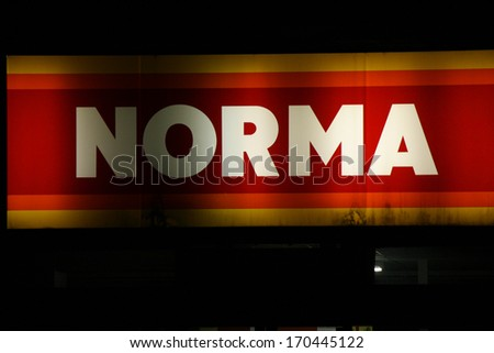 "NOVEMBER 2013 - BERLIN: logo/ electronic sign for ""Norma"", Berlin."