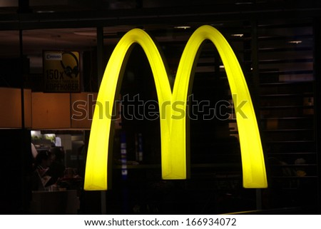 """NOVEMBER 2013 - BERLIN: logo/ electronic sign for the fast food chain """"McDonalds"""", Berlin. - stock photo"""