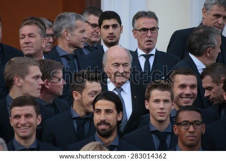 NOVEMBER 10, 2014 - BERLIN: Thomas Mueller, Matthias Ginter, Andreas Koepke, Mesut Oezil, Sami Khedira, Sepp Blatter, Erik Durm, Lukas Podolski, Jerome Boateng -  official reception, Schloss Bellevue. - stock photo
