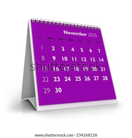 November 2015 Calendar - stock photo