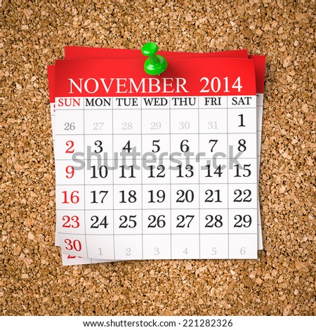 November 2014  Calendar on cork board , 3d render - stock photo