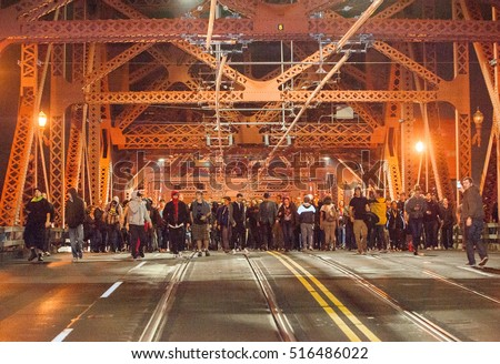 November 9.2016: Hours right after the election of Donald Trump as the next USA President people take the streets blocking the Broadway Bridge in Portland OR, for the first of 5 days of protest.