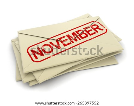 november letters  (clipping path included)