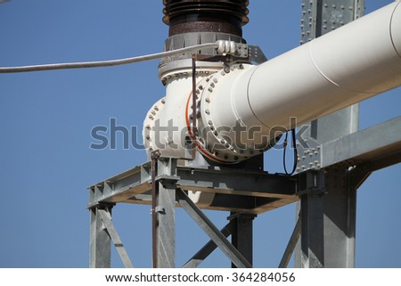 NOVEMBER 29, 2014 : NAN - THAILAND : Gas insulated switchgear and its outdoor electrical equipment under-construction.