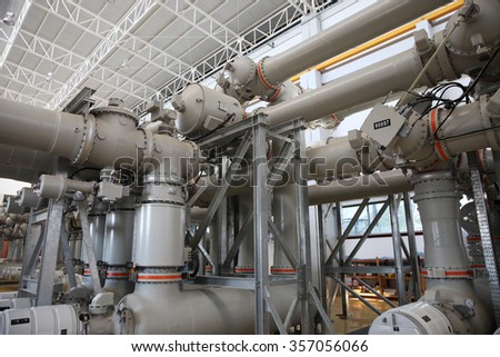 NOVEMBER 29, 2014 : NAN - THAILAND : Gas insulated switchgear inside the building under testing and commissioning of the electrical system.