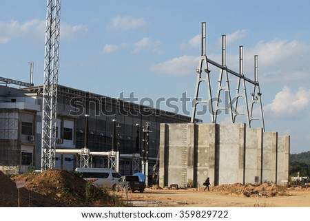 NOVEMBER 29, 2014 : NAN - THAILAND : Under installation of outdoor equipment for Extra high voltage electric power 500 kV Gas Insulated Switchgear. ( GIS )