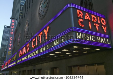 NOVEMBER 2005 - Neon lights of Radio City Music Hall at Rockefeller Center, New York City, New York - stock photo