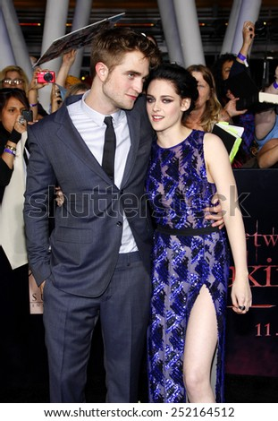 "NOVEMBER 14: Robert Pattinson and Kristen Stewart at the Los Angeles Premiere of ""The Twilight Saga: Breaking Dawn Part 1"" held at the Nokia Theatre L.A. Live in Los Angeles, USA on November 14, 2011. - stock photo"