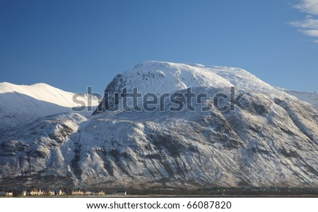 November snow on Ben Nevis,highest mountain in the UK.
