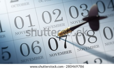 November 07 written on a calendar to remind you an important appointment.