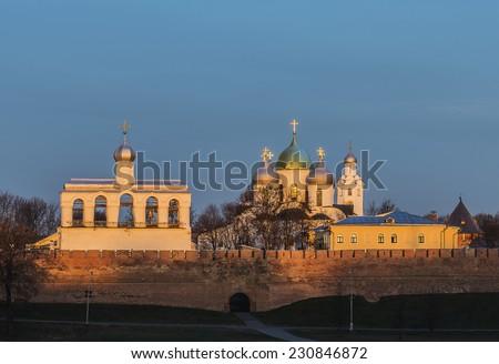 Novgorod Kremlin in Veliky Novgorod, Russia. The belfry of St. Sophia Cathedral.  - stock photo