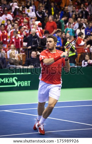 NOVI SAD - JANUARY 22: Stanislas WAWRINKA of Switzerland during the Davis Cup match between Serbia and Switzerland, January 31 2014, Novi Sad, Serbia - stock photo