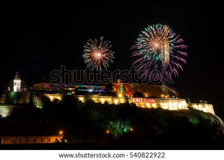 NOVI SAD - JULY 10 : fireworks for opening night at EXIT 2015 Music Festival July 10, 2015 in Novi Sad, Petrovaradin Fortress, Serbia