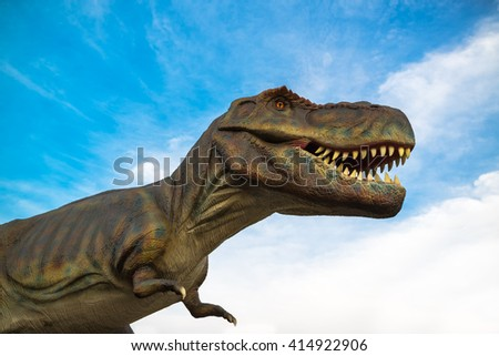 NOVI SAD, SERBIA - APRIL 28, 2016: Tyrannosaurus rex (T-Rex) life size model of prehistoric animal in entertainment Dino Park. It was one of the largest land carnivores of all time.