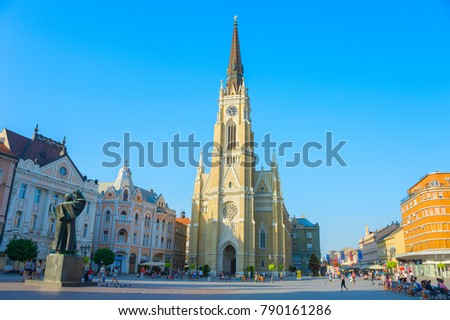 NOVI SAD, SERBIA - AUG 26, 2017: People at the Liberty Square. Novi Sad is the second largest city in Serbia.