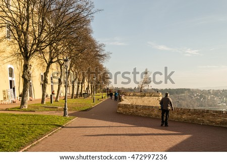 Novi Sad, Serbia - January 04, 2014: afternoon walk in the Petrovaradin fortress