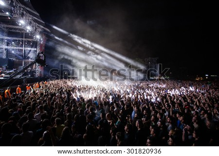NOVI SAD, SERBIA - JULY 10 2015: Audience infront of the Main Stage at EXIT 2015 Music Festival, during MOTORHEAD's performance, on July 10, 2015 at the Petrovaradin Fortress in Novi Sad, Serbia. - stock photo