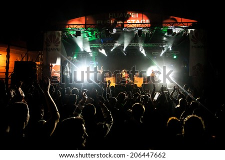 NOVI SAD, SERBIA - JULY 10: Che Sudaka perform at EXIT 2014 Best Major European Music Festival, on July 10, 2014 at the Petrovaradin Fortress in Novi Sad, Serbia. - stock photo