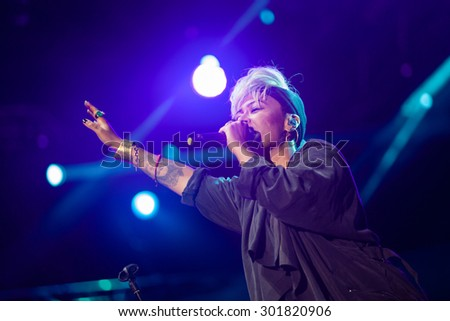 NOVI SAD, SERBIA - JULY 9 2015: Emeli Sande performs at EXIT 2015 Music Festival, on July 9, 2015 at the Petrovaradin Fortress in Novi Sad, Serbia. - stock photo