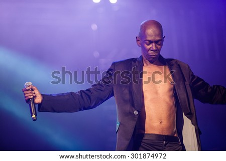 NOVI SAD, SERBIA - JULY 12 2015: FAITHLESS performs at EXIT 2015 Music Festival, on July 12, 2015 at the Petrovaradin Fortress in Novi Sad, Serbia.