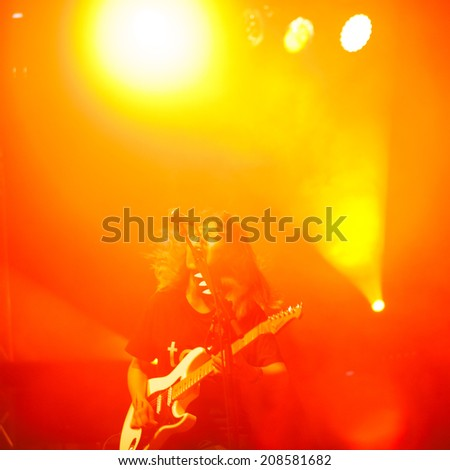 NOVI SAD, SERBIA - JULY 13: Japanese band TRICOT performs at EXIT 2014 Best Major European Music Festival, on July 13, 2014 at the Petrovaradin Fortress in Novi Sad, Serbia. - stock photo