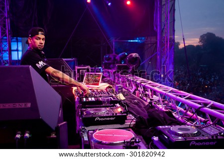 NOVI SAD, SERBIA - JULY 11 2015: MK performs at the Dance Arena at EXIT 2015 Music Festival, on July 11, 2015 at the Petrovaradin Fortress in Novi Sad, Serbia. - stock photo