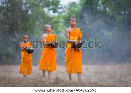 Novices alms walking on the field
