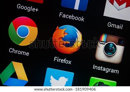 NOVOKUZNETS, RUSSIA - MARCH 13, 2014: Closeup photo of Firefox icon on mobile phone screen. - stock photo