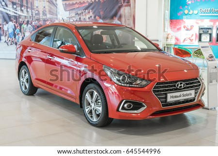 Novokuznetsk, Russia - April 19, 2017: Hyundai Accent (Solaris)