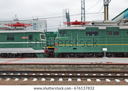 Novosibirsk Museum of railway equipment in Novosibirsk, Siberia, Russia - July 7, 2017: Trains - the exhibits of the Museum under the open sky