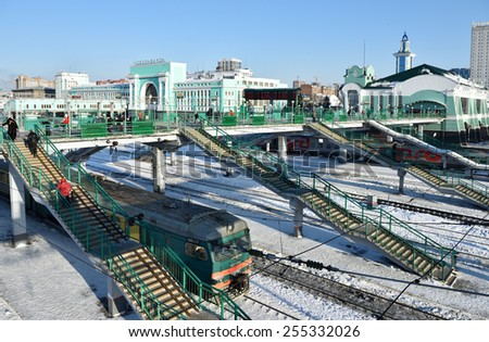 NOVOSIBIRSK, RUSSIA - JANUARY 11, 2015: Building of the main train station. The station is starting point of Turkestan-Siberian railroad and a key point of Trans-Siberian railroad - stock photo