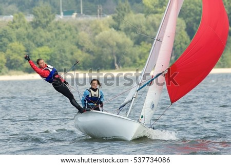 NOVOSIBIRSK,RUSSIA-JULY12:Sailing Regatta, Inter-regional competition to support children's sailing Siberiariver-2015 July12, sailing kids, 2015 in Novosibirsk, Russia