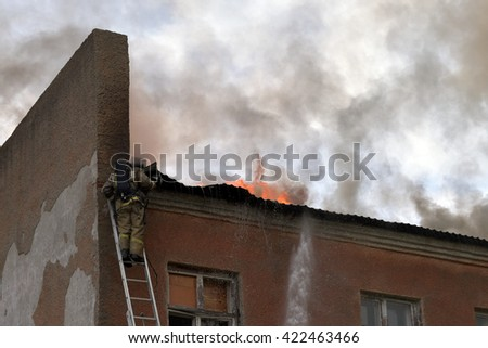 NOVOSIBIRSK, RUSSIA - MAY 18, 2016 Fire on the territory of a military unit in the city of Novosibirsk