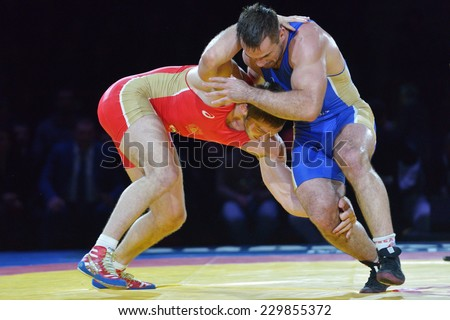 NOVOSIBIRSK, RUSSIA - NOVEMBER 8, 2014: Greco-Roman wrestling match Aslan Abdullin (blue singlet) vs Valery Gusarov during the Friendship Cup. The competitions include 10 kind of martial arts - stock photo