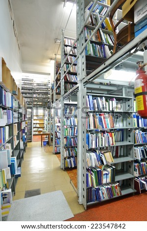 NOVOSIBIRSK, RUSSIA - OCTOBER 5, 2014: Interior of book depository of the State Scientific Library opened for public during the 4th Science Festival. The event aimed to popularize science