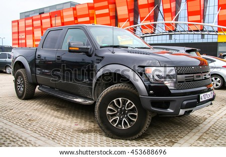 NOVYY URENGOY, RUSSIA - MAY 22, 2016: Pickup truck Ford F-150 in the city street.