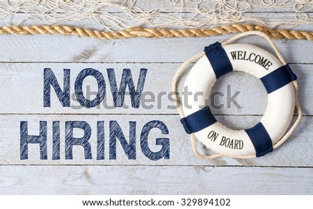 Now hiring - welcome on board - stock photo