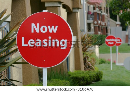 Now Leasing Signs - stock photo