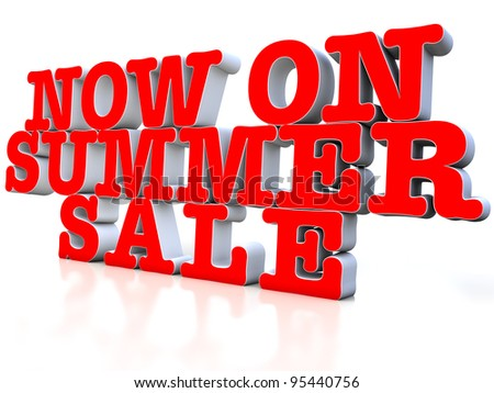 Now on Summer sale 3d over white background