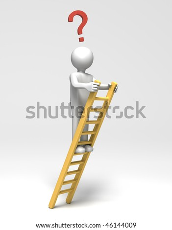 Now What? (3D person at top of ladder with question mark) - stock photo