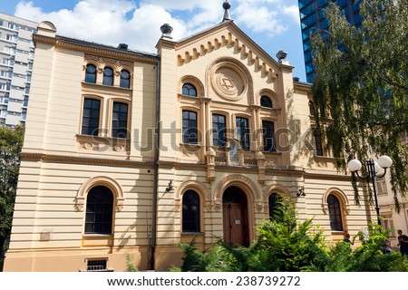 Nozyk Synagogue in Warsaw, Poland, built in 1902, the only surviving the World War II.  Warsaw Jewish Commune. Neoromanesque style - stock photo